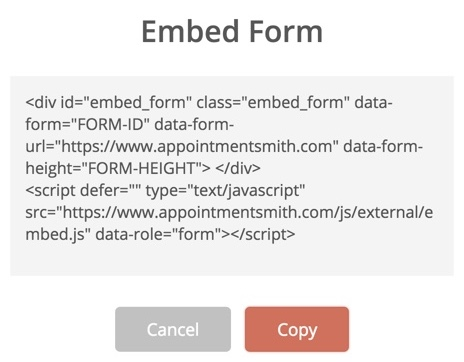 Embed your created form in your website
